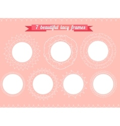 Set with different round frames Lacy romantic vector image