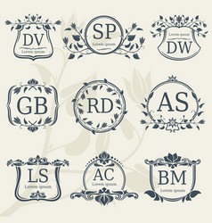 vintage elegance wedding monograms with floral vector image