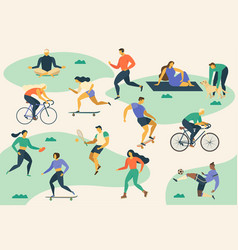 active young people healthy lifestyle roller vector image vector image