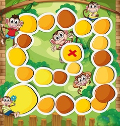 Boardgame template with monkey in the woods vector image vector image