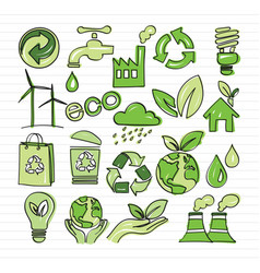 eco doodle vector image