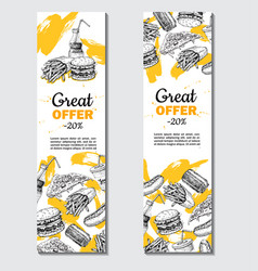 fast food hand drawn banner hand drawn vector image