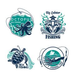 fishing sport club or trip icons set vector image