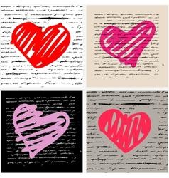 Heart set Love background vector image