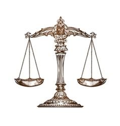 Scales of justice Vintage sketch vector image