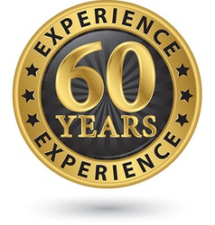 60 years experience gold label vector
