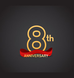 8 anniversary logotype design with line golden vector