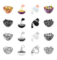 A bowl with various kinds of nuts food fruit vector