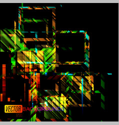 Abstract square shapes colors concepts on a black vector