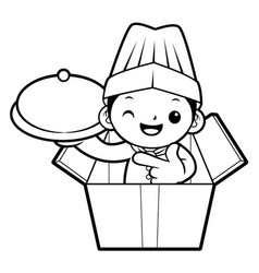 black and white funny chef mascot holding a pot vector image