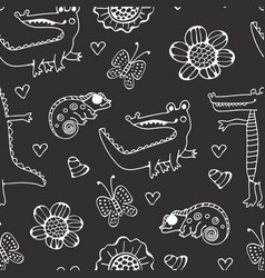 black and white seamless pattern with crocodiles vector image