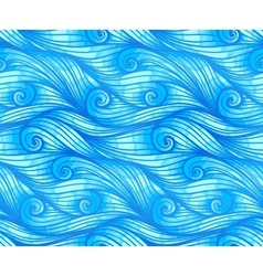 Blue curly waves seamless pattern vector