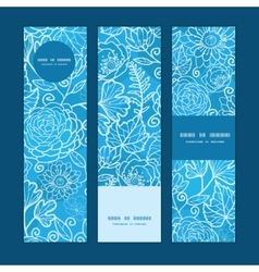 Blue field floral texture vertical banners set vector