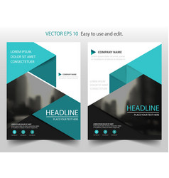 Blue triangle brochure annual report leaflet vector