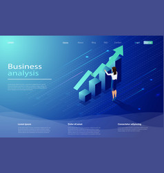 business analysis concept banner with characters vector image
