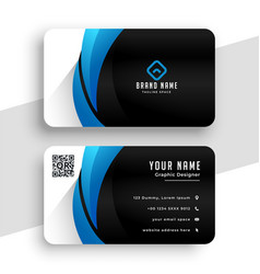 business card template in blue and black colors vector image