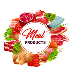 Butchery food frame with meat products vector