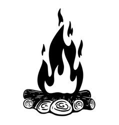 Camp fire on white background design element for vector