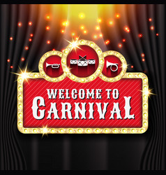 Carnival banner background design with light bulb vector