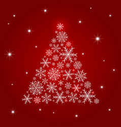 christmas tree design of snowflake vector image