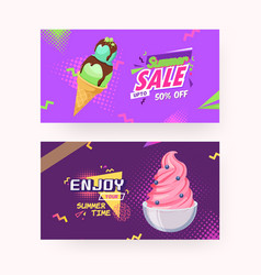 Colorful ice-cream and text lettering ad banner vector