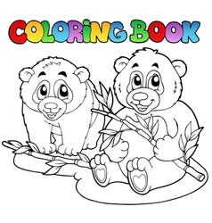 Coloring book with two pandas vector