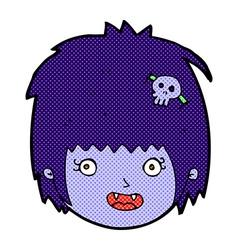 Comic cartoon happy vampire girl face vector