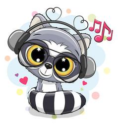 Cute cartoon raccoon with headphones vector