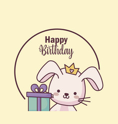 Cute rabbit happy birthday card with gift vector