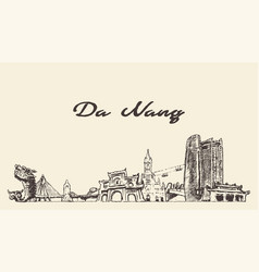 da nang skyline vietnam hand drawn sketch vector image