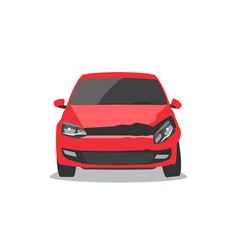 Damaged red car vector