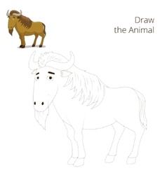 Draw the animal educational game wildebeest vector