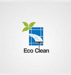 Eco clean logo icon elementand template for vector