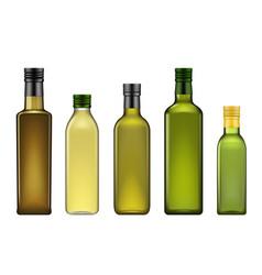 Extra virgin olive oil green bottles mockups vector