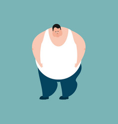 fat sad emotions stout guy sorrowful isolated vector image