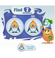 find 7 differences penguin vector image