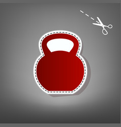 Fitness dumbbell sign red icon with for vector