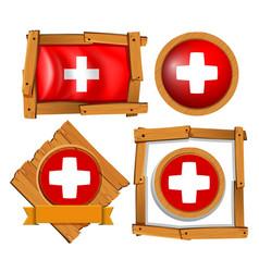 Flag of switzerland in different frames vector