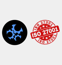 gears icon and grunge iso 27001 seal vector image