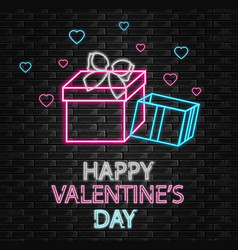 gift box neon light happy valentine day vector image