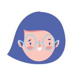 girl face character cartoon isolated icon design vector image