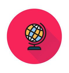 Globe icon on round background vector