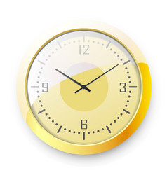 golden wall clock on white background vector image