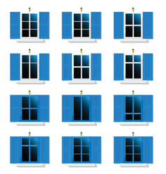 Greek white and blue window with lamp vector