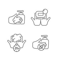 Hand hygiene linear icons set vector