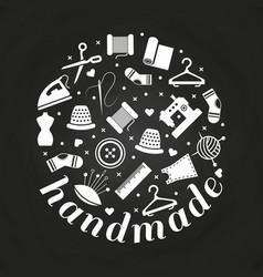 handmade or handwork round concept vector image