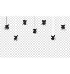 hanging spiders for halloween decoration scary vector image