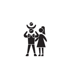 happy family black concept icon happy vector image