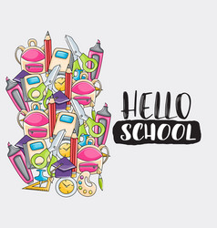 hello school doodle clip art greeting card vector image vector image