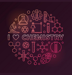 I love chemistry colorful round outline vector